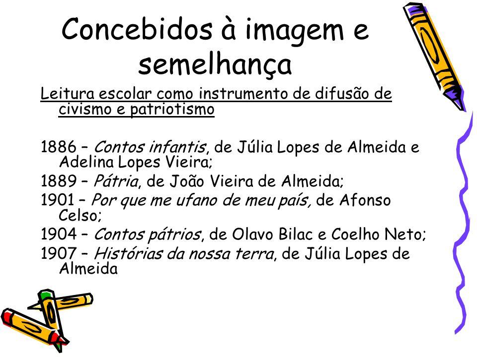 Concebidos à imagem e semelhança Leitura escolar como instrumento de difusão de civismo e patriotismo 1886 – Contos infantis, de Júlia Lopes de Almeid