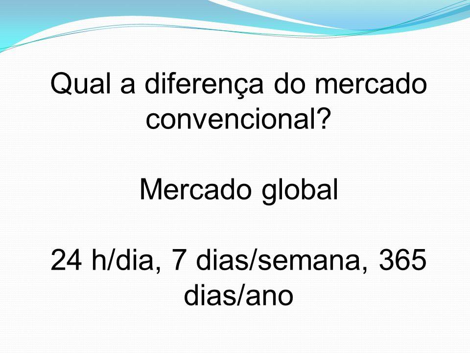 Qual a diferença do mercado convencional? Mercado global 24 h/dia, 7 dias/semana, 365 dias/ano