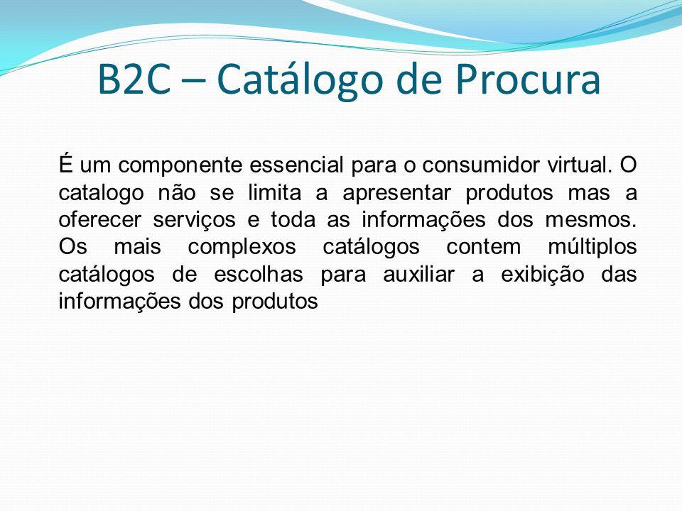 B2C – Catálogo de Procura É um componente essencial para o consumidor virtual. O catalogo não se limita a apresentar produtos mas a oferecer serviços