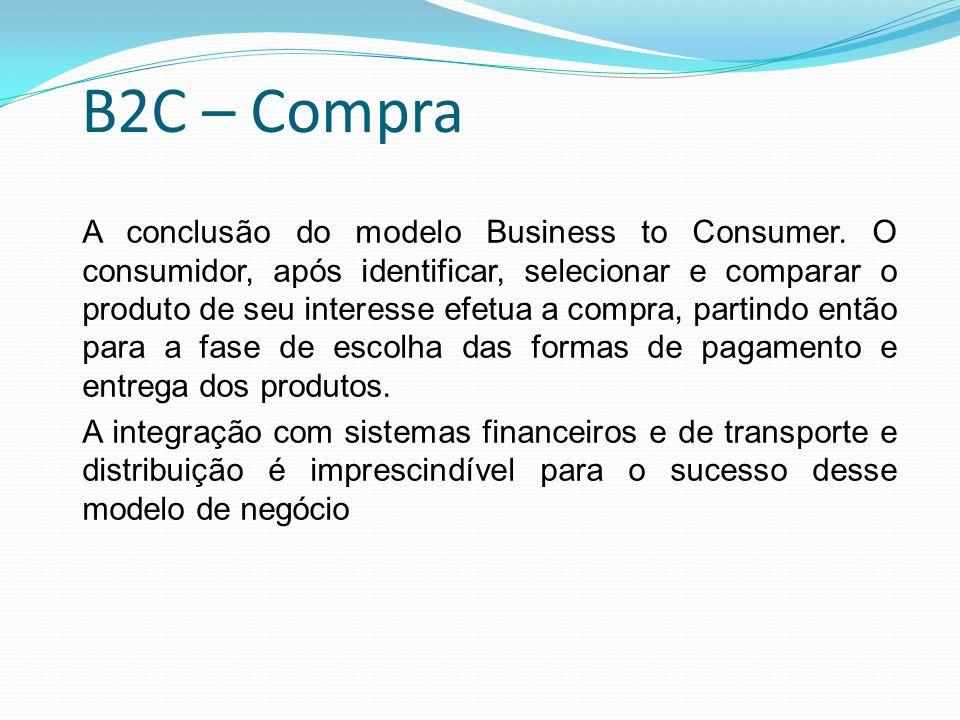 B2C – Compra A conclusão do modelo Business to Consumer. O consumidor, após identificar, selecionar e comparar o produto de seu interesse efetua a com