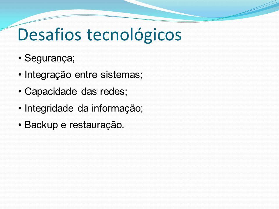 Desafios tecnológicos Segurança; Integração entre sistemas; Capacidade das redes; Integridade da informação; Backup e restauração.