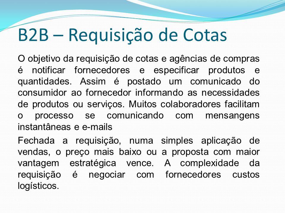 B2B – Requisição de Cotas O objetivo da requisição de cotas e agências de compras é notificar fornecedores e especificar produtos e quantidades. Assim