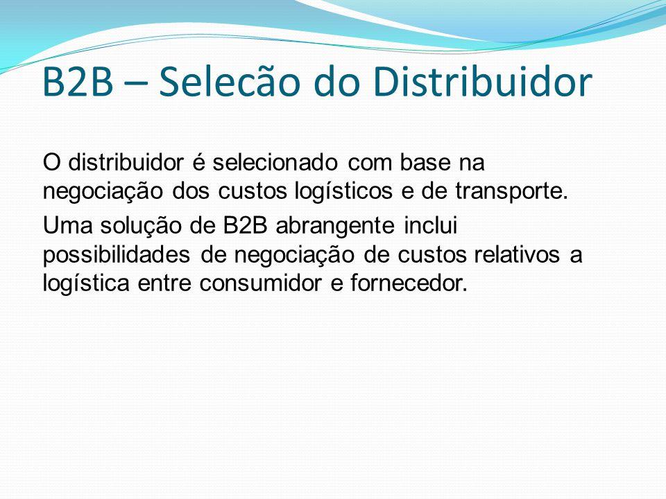 B2B – Selecão do Distribuidor O distribuidor é selecionado com base na negociação dos custos logísticos e de transporte. Uma solução de B2B abrangente