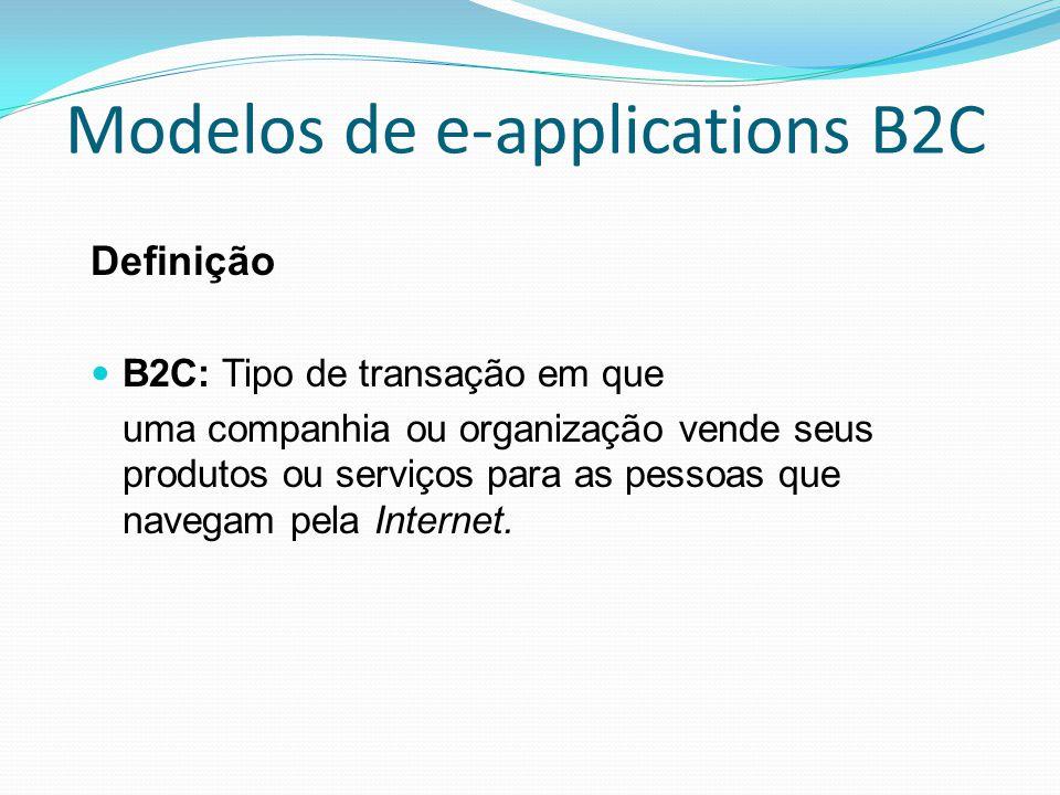 Modelos de e-applications B2C Definição B2C: Tipo de transação em que uma companhia ou organização vende seus produtos ou serviços para as pessoas que