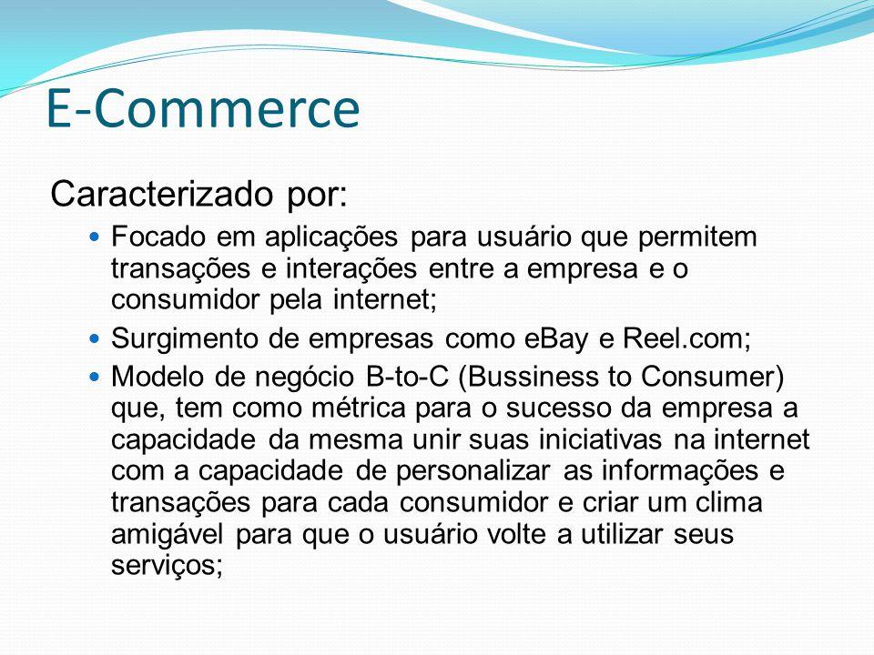 E-Commerce Caracterizado por: Focado em aplicações para usuário que permitem transações e interações entre a empresa e o consumidor pela internet; Sur