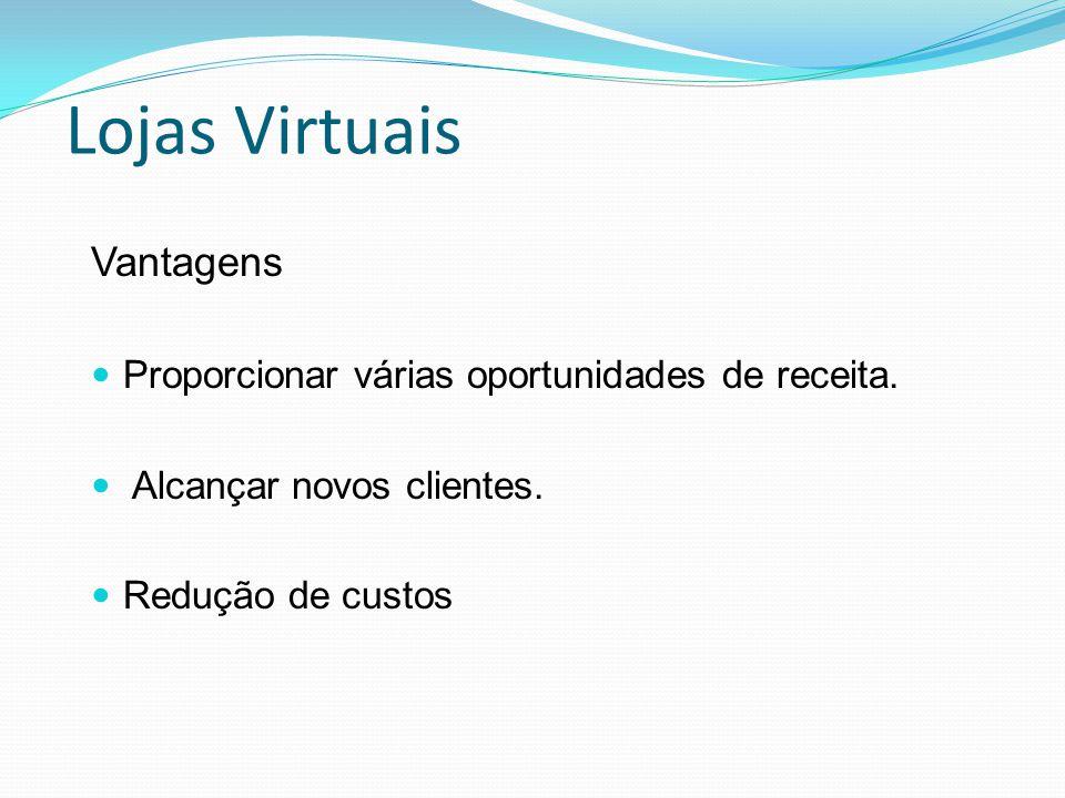 Lojas Virtuais Vantagens Proporcionar várias oportunidades de receita. Alcançar novos clientes. Redução de custos