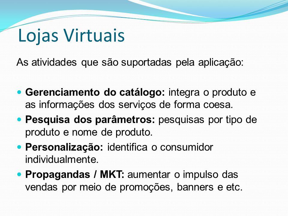 Lojas Virtuais As atividades que são suportadas pela aplicação: Gerenciamento do catálogo: integra o produto e as informações dos serviços de forma co
