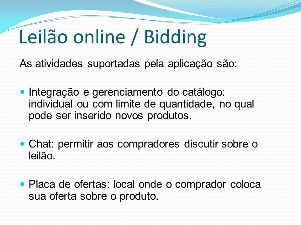 Leilão online / Bidding As atividades suportadas pela aplicação são: Integração e gerenciamento do catálogo: individual ou com limite de quantidade, no qual pode ser inserido novos produtos.