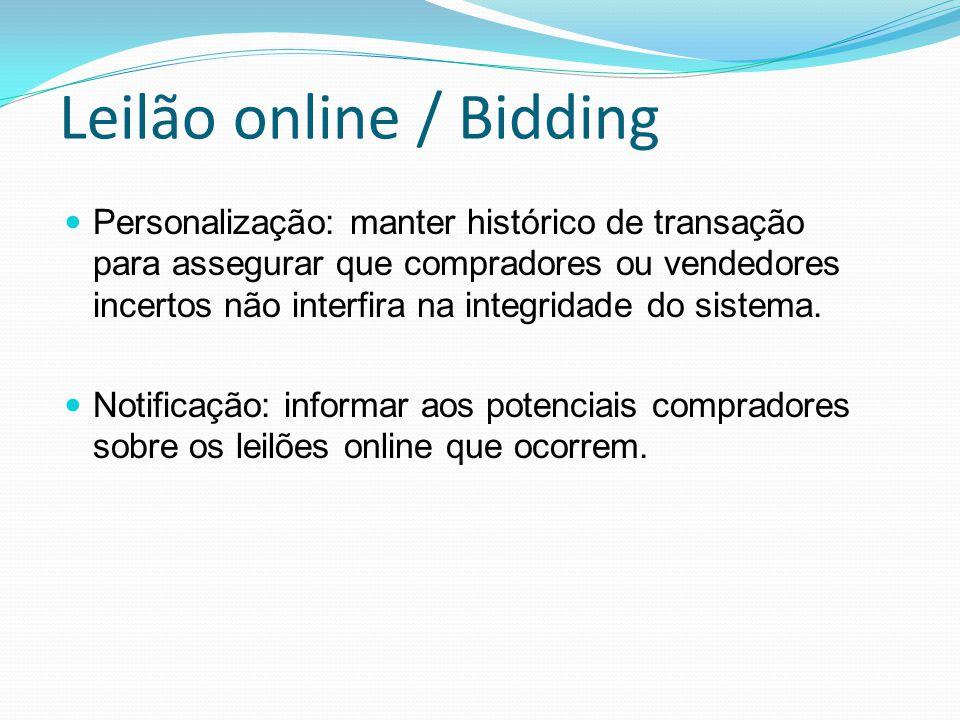 Leilão online / Bidding Personalização: manter histórico de transação para assegurar que compradores ou vendedores incertos não interfira na integridade do sistema.
