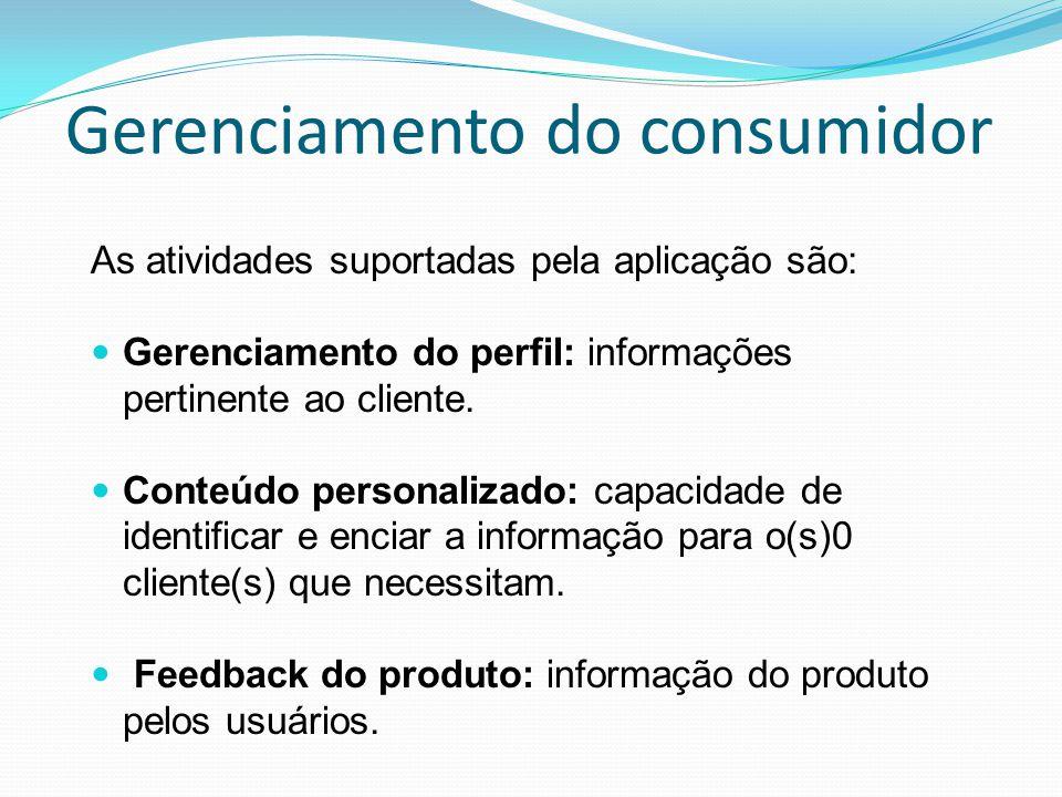 Gerenciamento do consumidor As atividades suportadas pela aplicação são: Gerenciamento do perfil: informações pertinente ao cliente. Conteúdo personal