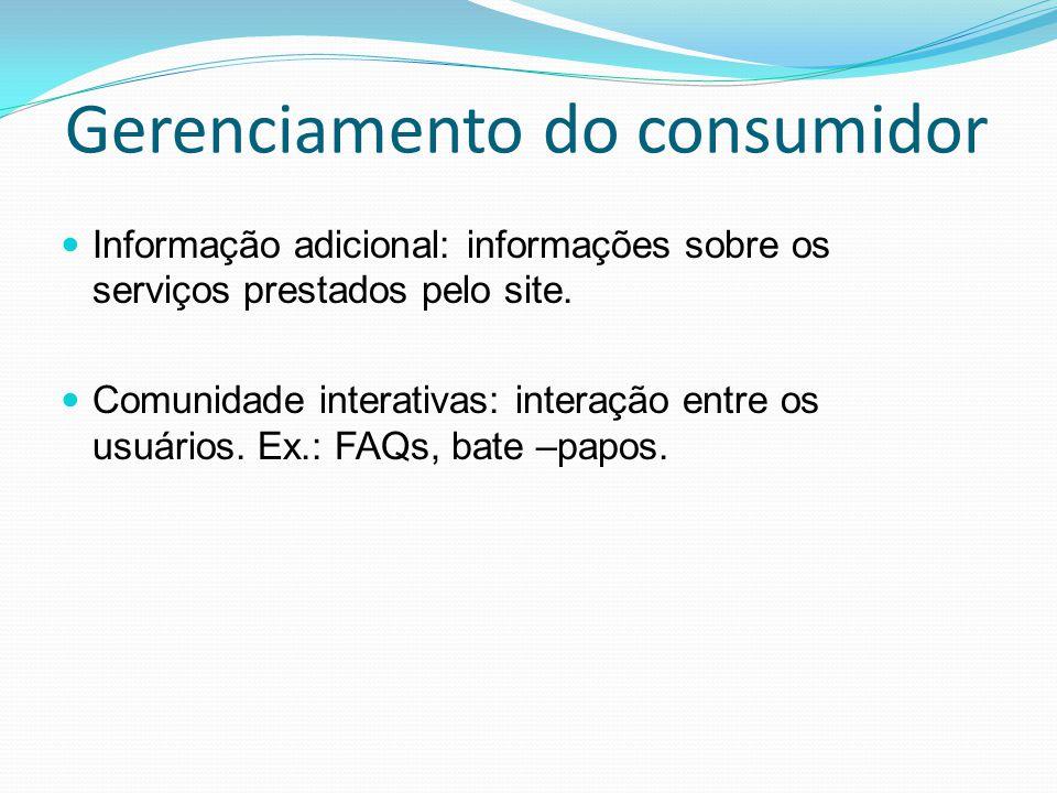 Gerenciamento do consumidor Informação adicional: informações sobre os serviços prestados pelo site. Comunidade interativas: interação entre os usuári