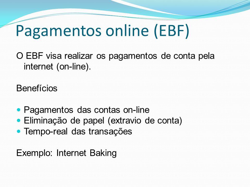 Pagamentos online (EBF) O EBF visa realizar os pagamentos de conta pela internet (on-line). Benefícios Pagamentos das contas on-line Eliminação de pap