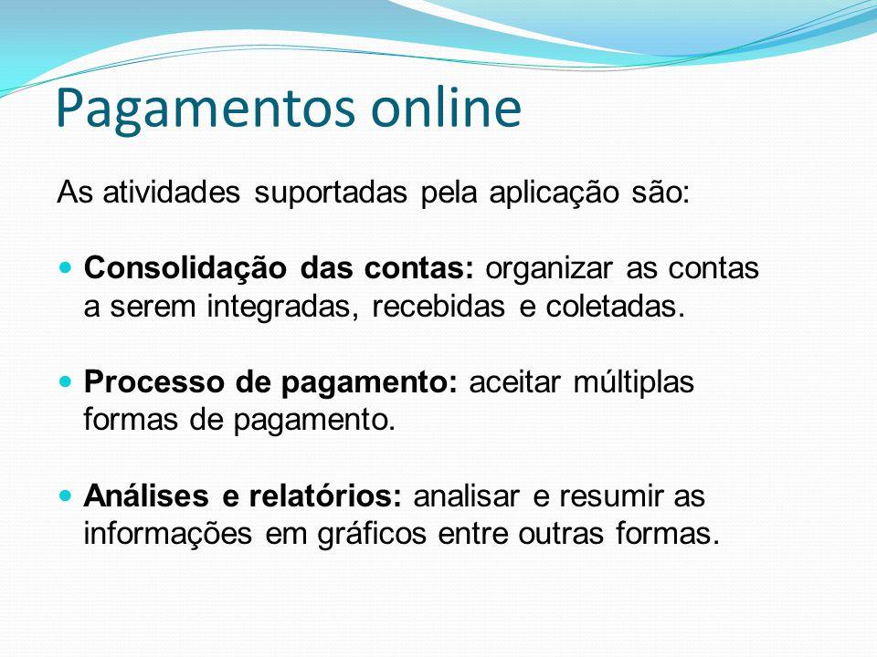 Pagamentos online As atividades suportadas pela aplicação são: Consolidação das contas: organizar as contas a serem integradas, recebidas e coletadas.