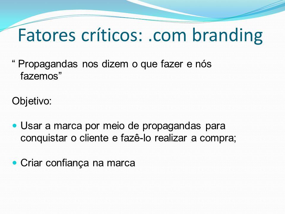 Fatores críticos:.com branding Propagandas nos dizem o que fazer e nós fazemos Objetivo: Usar a marca por meio de propagandas para conquistar o cliente e fazê-lo realizar a compra; Criar confiança na marca