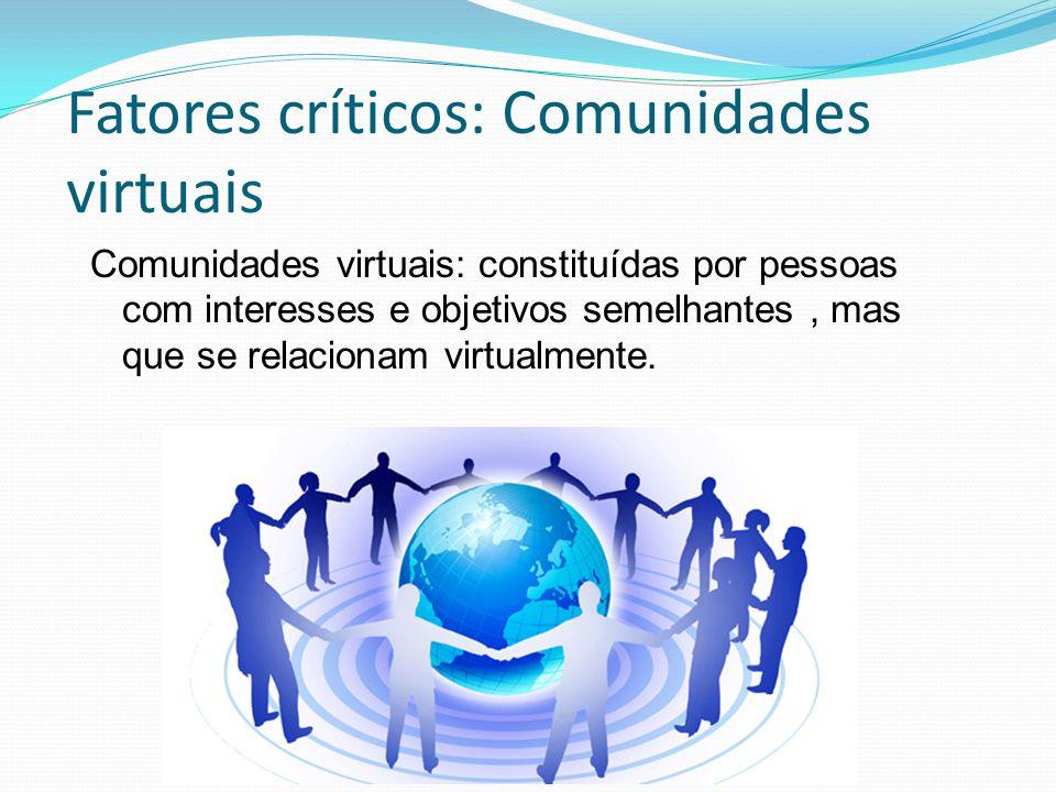 Fatores críticos: Comunidades virtuais Comunidades virtuais: constituídas por pessoas com interesses e objetivos semelhantes, mas que se relacionam virtualmente.