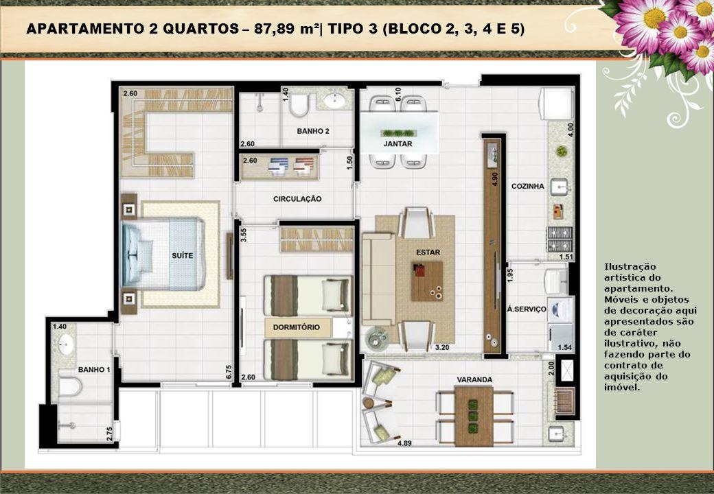 APARTAMENTO 2 QUARTOS – 87,89 m²| TIPO 3 (BLOCO 2, 3, 4 E 5) Ilustração artística do apartamento.