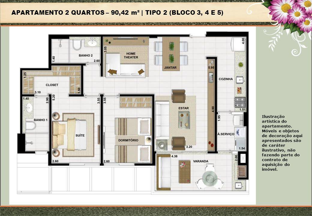 APARTAMENTO 2 QUARTOS – 90,42 m² | TIPO 2 (BLOCO 3, 4 E 5) Ilustração artística do apartamento.