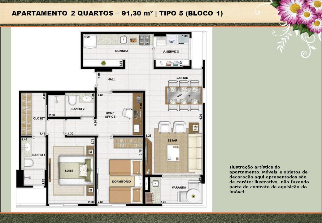 APARTAMENTO 2 QUARTOS – 91,30 m² | TIPO 5 (BLOCO 1) Ilustração artística do apartamento.