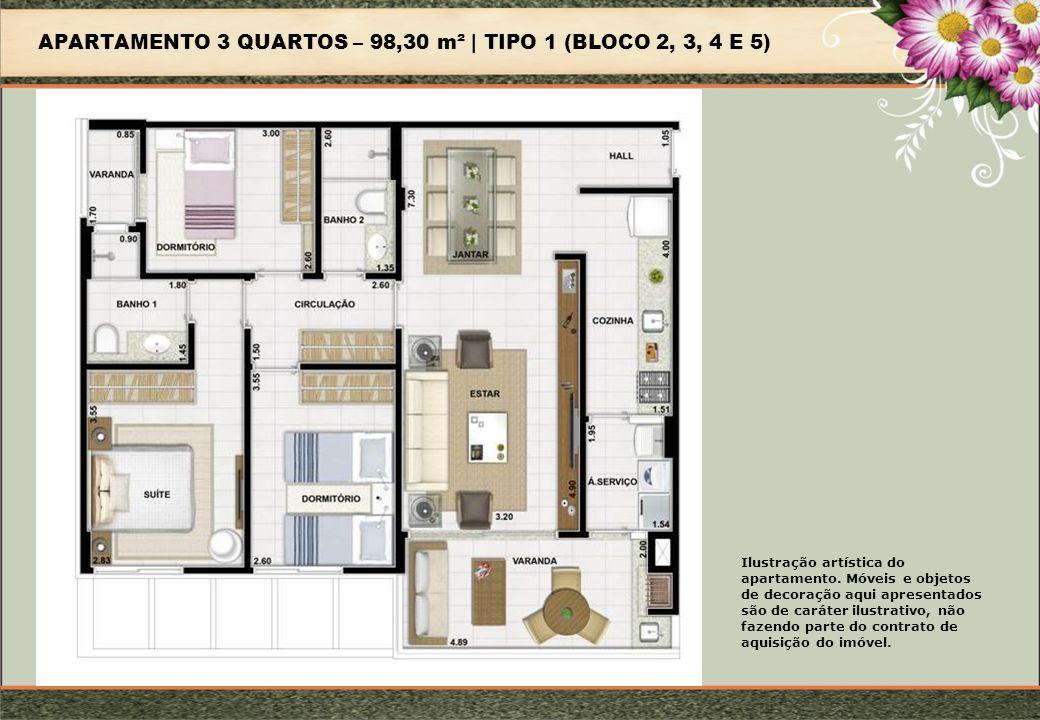 APARTAMENTO 3 QUARTOS – 98,30 m² | TIPO 1 (BLOCO 2, 3, 4 E 5) Ilustração artística do apartamento.