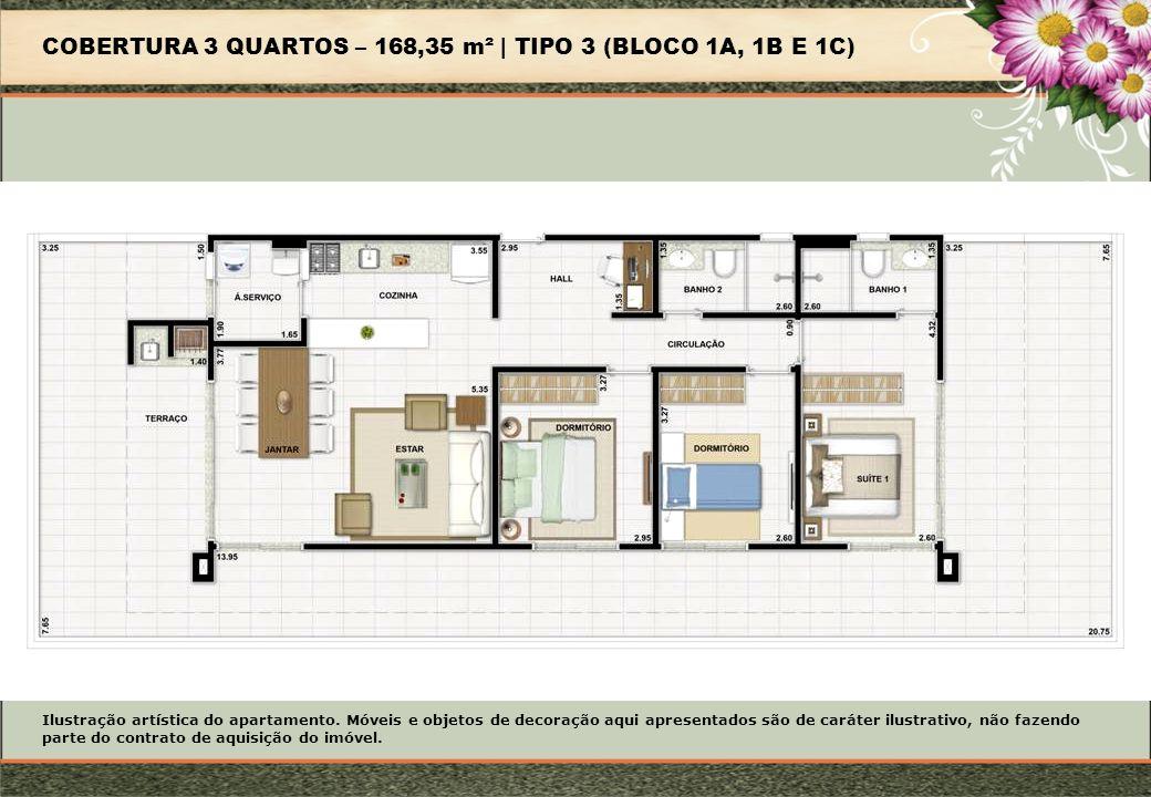 COBERTURA 3 QUARTOS – 168,35 m² | TIPO 3 (BLOCO 1A, 1B E 1C) Ilustração artística do apartamento.