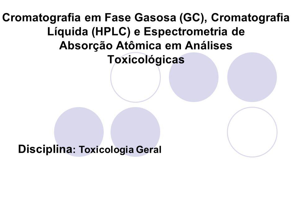 Cromatografia em Fase Gasosa (GC), Cromatografia Líquida (HPLC) e Espectrometria de Absorção Atômica em Análises Toxicológicas Disciplina : Toxicologi
