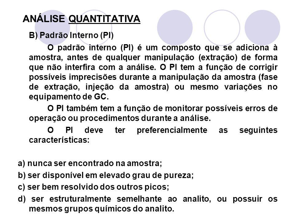 ANÁLISE QUANTITATIVA B) Padrão Interno (PI) O padrão interno (PI) é um composto que se adiciona à amostra, antes de qualquer manipulação (extração) de