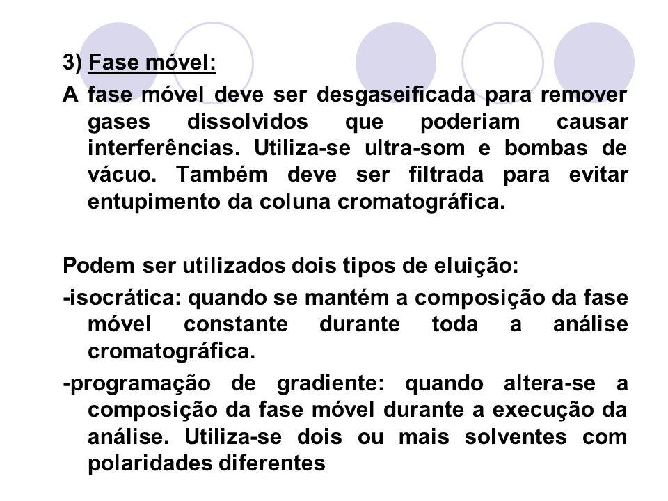 3) Fase móvel: A fase móvel deve ser desgaseificada para remover gases dissolvidos que poderiam causar interferências. Utiliza-se ultra-som e bombas d