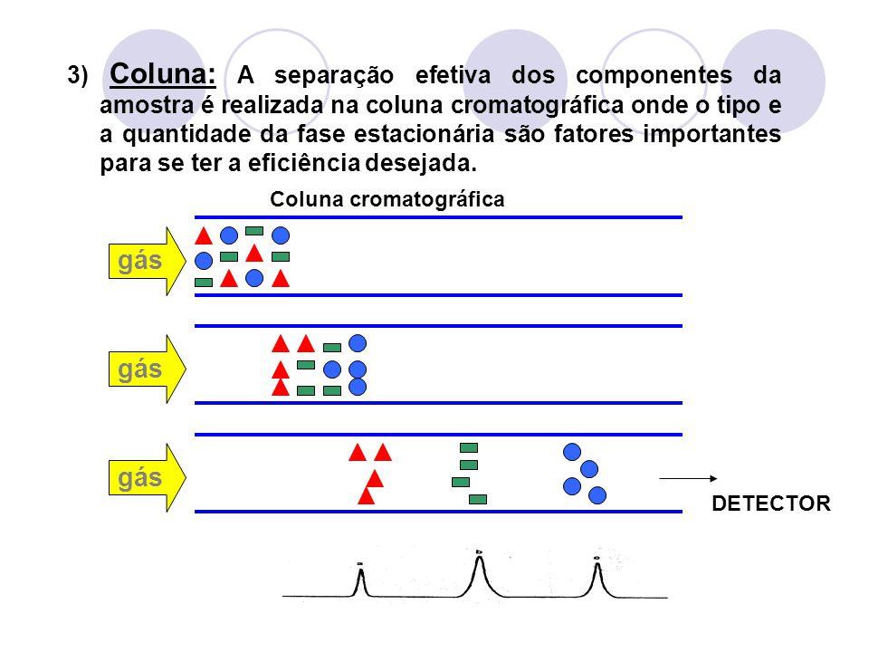 gás Coluna cromatográfica gás DETECTOR 3) Coluna: A separação efetiva dos componentes da amostra é realizada na coluna cromatográfica onde o tipo e a