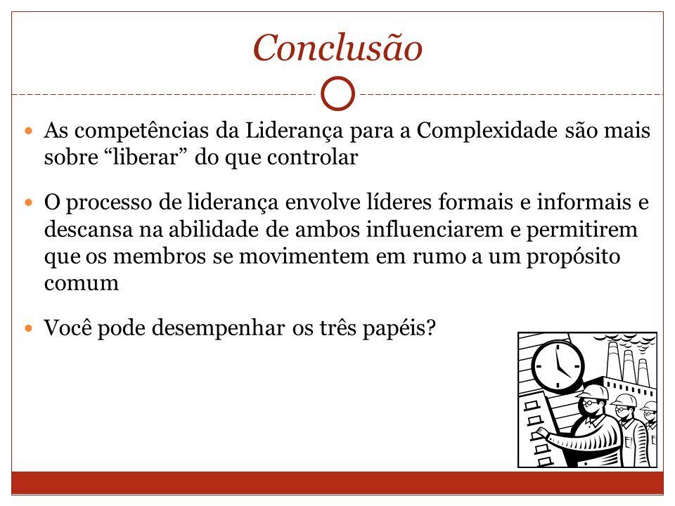 Conclusão As competências da Liderança para a Complexidade são mais sobre liberar do que controlar O processo de liderança envolve líderes formais e i