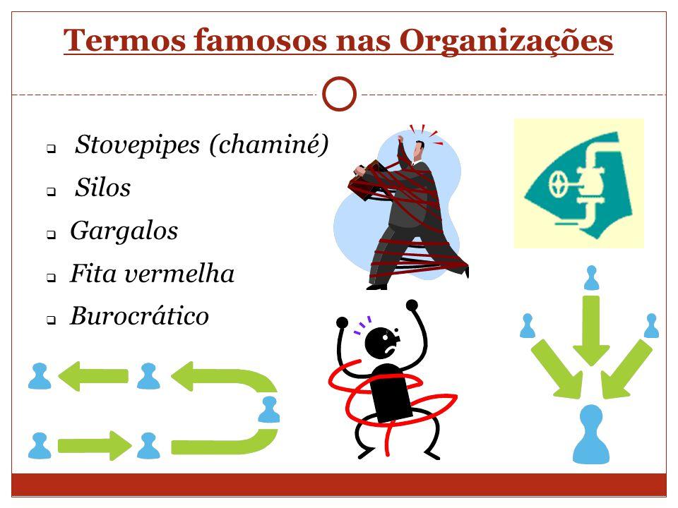 Termos famosos nas Organizações Stovepipes (chaminé) Silos Gargalos Fita vermelha Burocrático