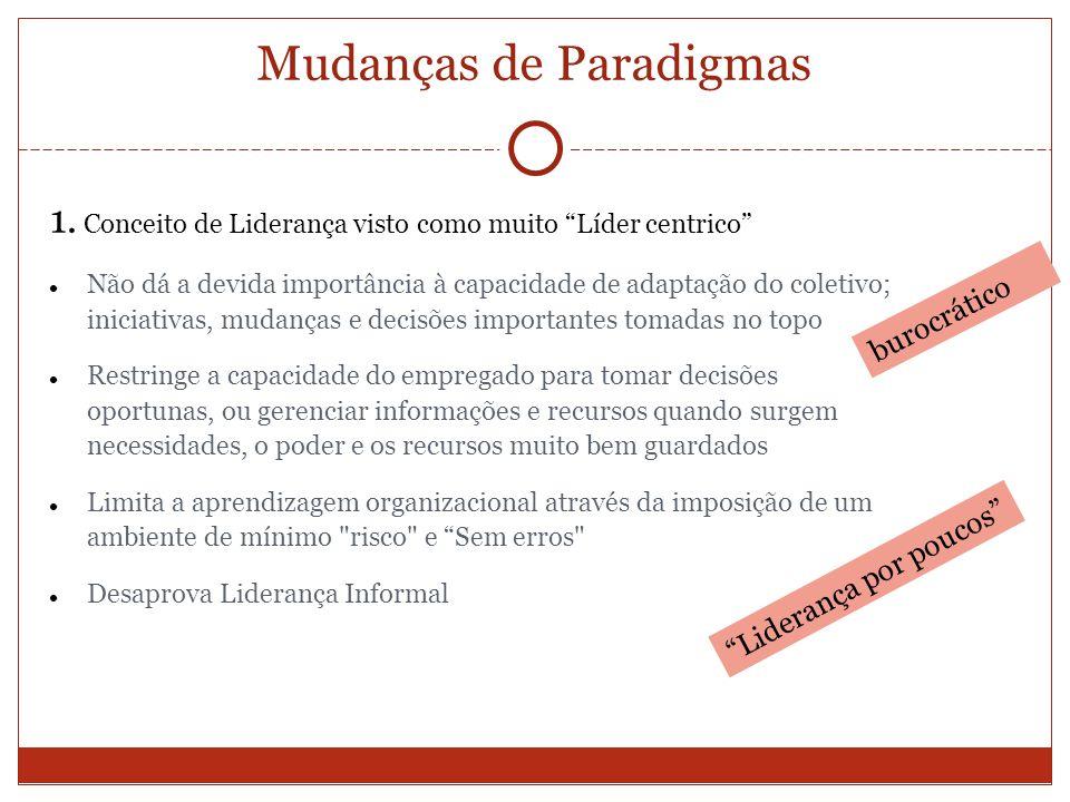 Mudanças de Paradigmas 1. Conceito de Liderança visto como muito Líder centrico Não dá a devida importância à capacidade de adaptação do coletivo; ini