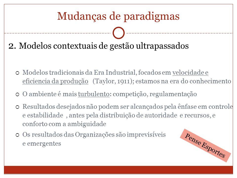Mudanças de paradigmas 2. Modelos contextuais de gestão ultrapassados Modelos tradicionais da Era Industrial, focados em velocidade e eficiencia da pr