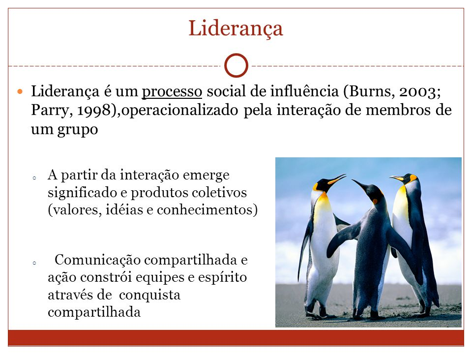Liderança Liderança é um processo social de influência (Burns, 2003; Parry, 1998),operacionalizado pela interação de membros de um grupo o A partir da