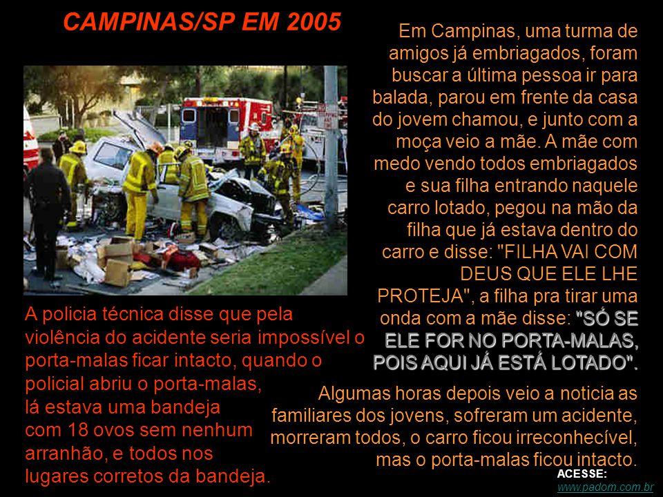 CAMPINAS/SP EM 2005 Algumas horas depois veio a noticia as familiares dos jovens, sofreram um acidente, morreram todos, o carro ficou irreconhecível, mas o porta-malas ficou intacto.