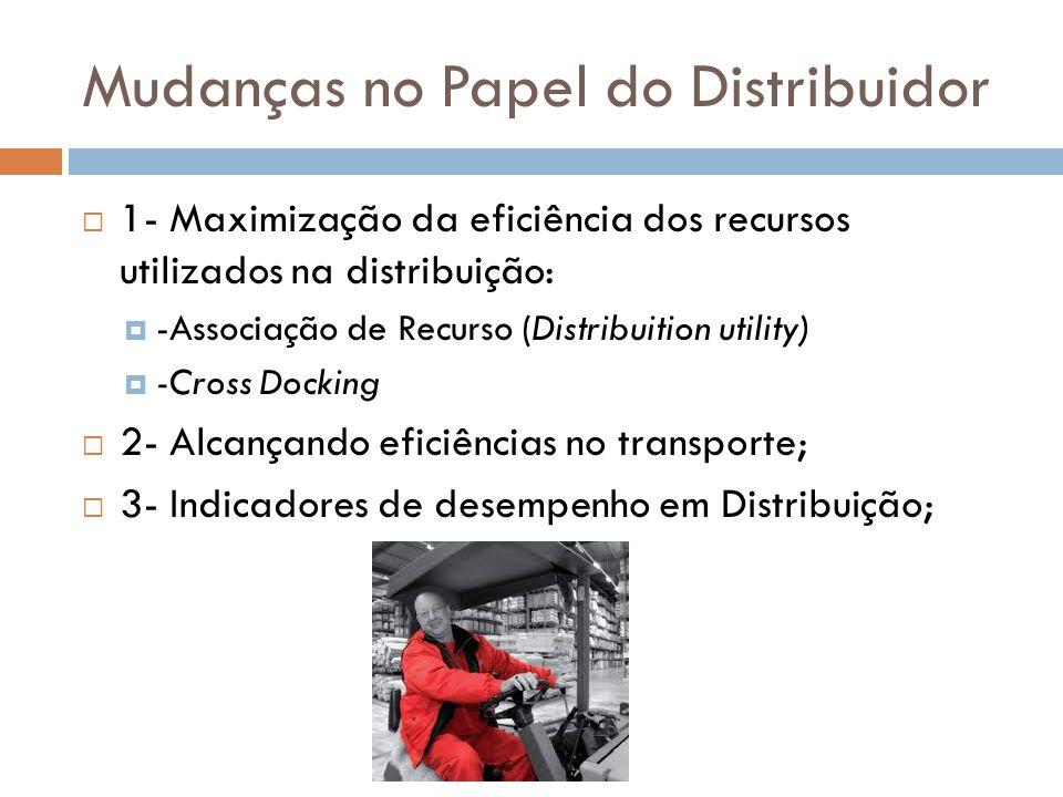 Mudanças no Papel do Distribuidor 1- Maximização da eficiência dos recursos utilizados na distribuição: -Associação de Recurso (Distribuition utility)