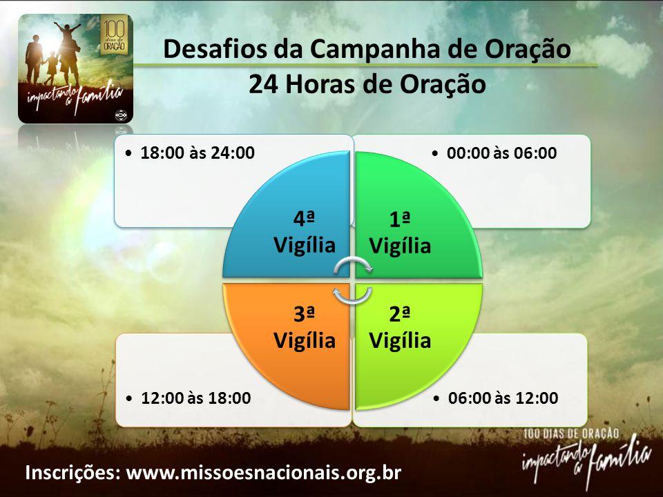 Desafios da Campanha de Oração 24 Horas de Oração 06:00 às 12:0012:00 às 18:00 00:00 às 06:00 18:00 às 24:00 4ª Vigília 1ª Vigília 2ª Vigília 3ª Vigíl
