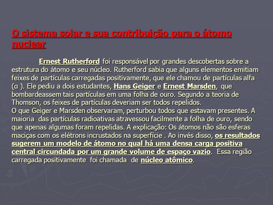 O sistema solar e sua contribuição para o átomo nuclear Ernest Rutherford foi responsável por grandes descobertas sobre a estrutura do átomo e seu núcleo.