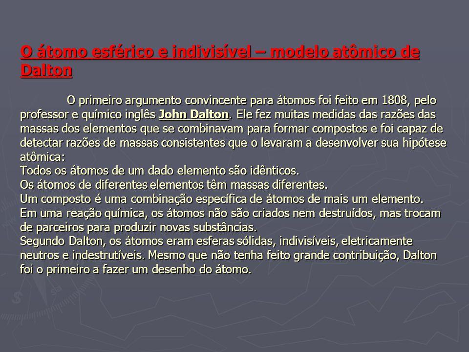 O átomo esférico e indivisível – modelo atômico de Dalton O primeiro argumento convincente para átomos foi feito em 1808, pelo professor e químico inglês John Dalton.