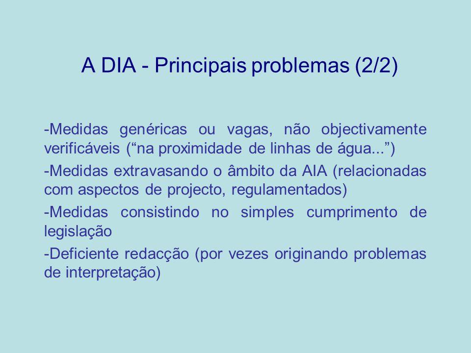 A DIA - Principais problemas (2/2) -Medidas genéricas ou vagas, não objectivamente verificáveis (na proximidade de linhas de água...) -Medidas extrava
