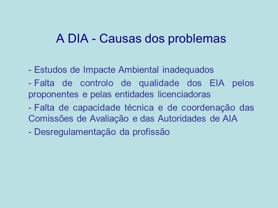 A DIA - Causas dos problemas - Estudos de Impacte Ambiental inadequados - Falta de controlo de qualidade dos EIA pelos proponentes e pelas entidades l
