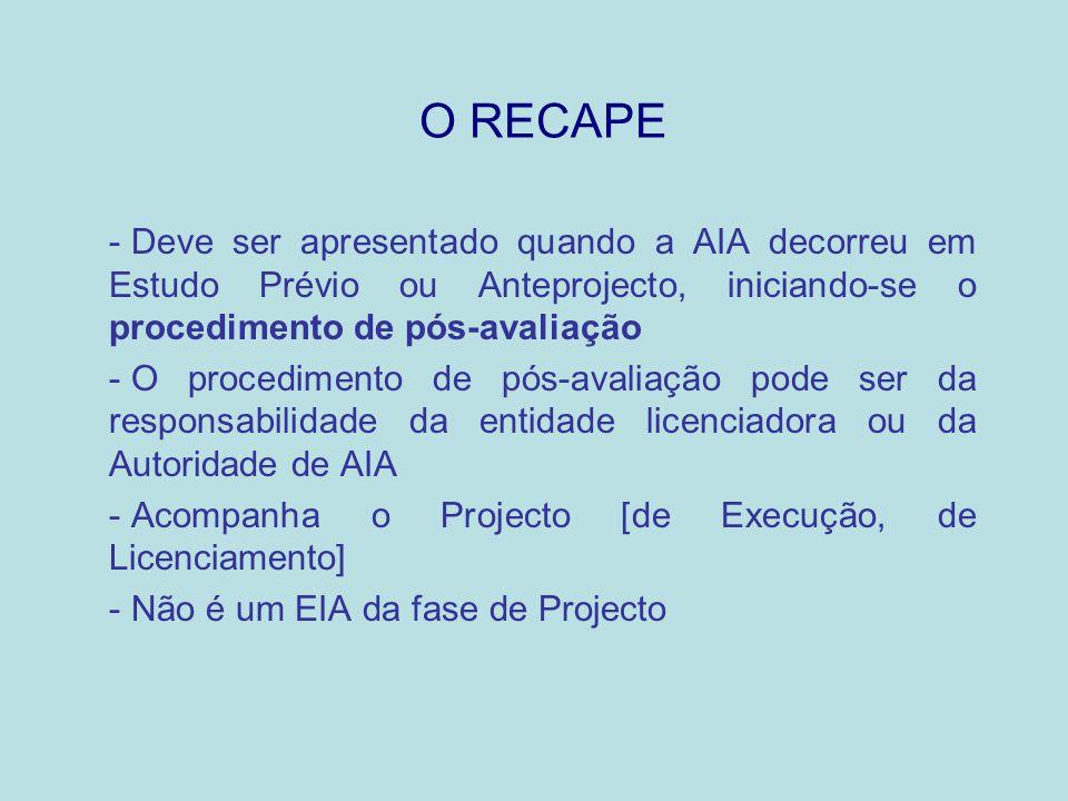 O RECAPE - Deve ser apresentado quando a AIA decorreu em Estudo Prévio ou Anteprojecto, iniciando-se o procedimento de pós-avaliação - O procedimento