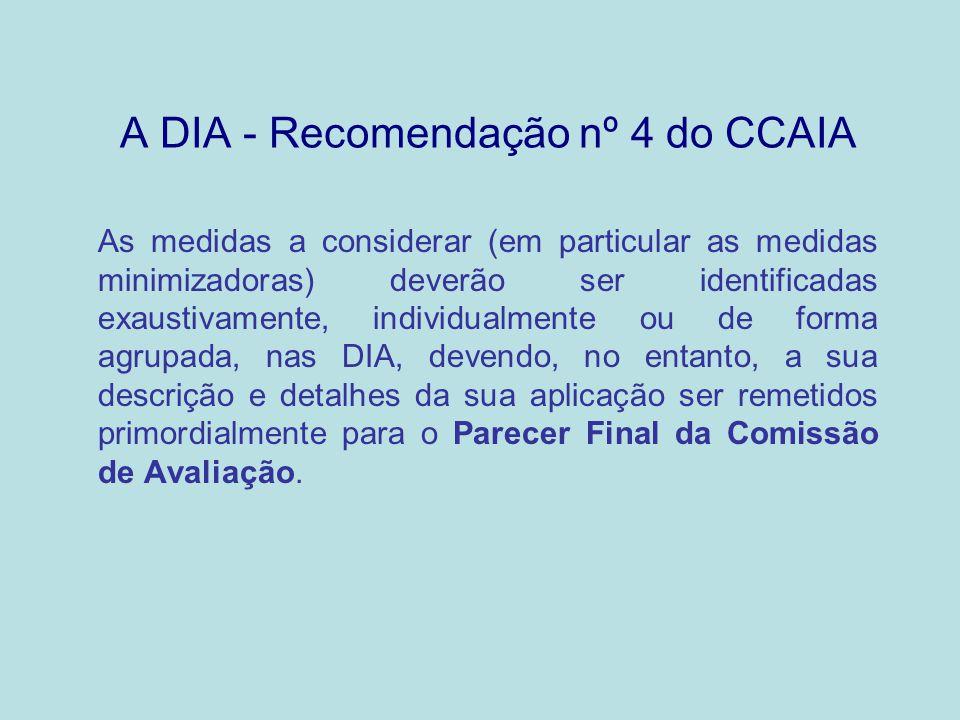 A DIA - Recomendação nº 4 do CCAIA As medidas a considerar (em particular as medidas minimizadoras) deverão ser identificadas exaustivamente, individu