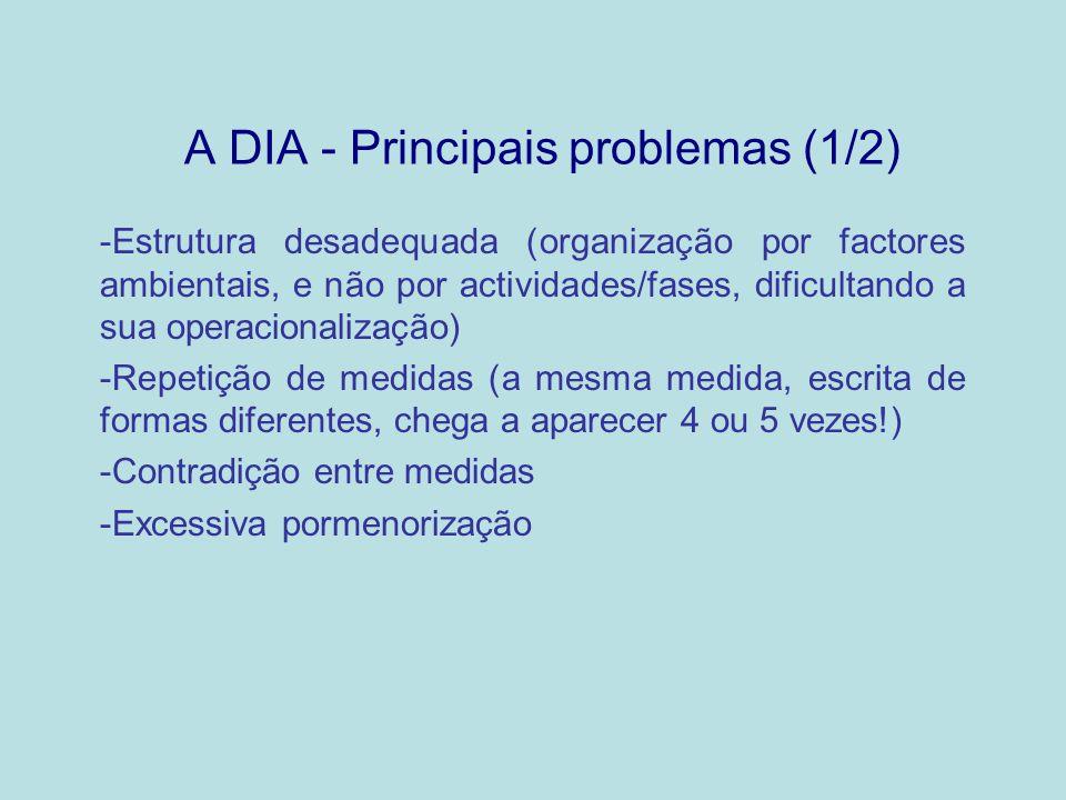 A DIA - Principais problemas (2/2) -Medidas genéricas ou vagas, não objectivamente verificáveis (na proximidade de linhas de água...) -Medidas extravasando o âmbito da AIA (relacionadas com aspectos de projecto, regulamentados) -Medidas consistindo no simples cumprimento de legislação -Deficiente redacção (por vezes originando problemas de interpretação)