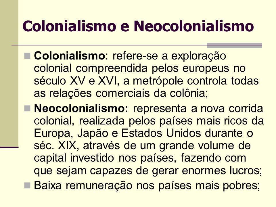Colonialismo e Neocolonialismo Colonialismo: refere-se a exploração colonial compreendida pelos europeus no século XV e XVI, a metrópole controla toda