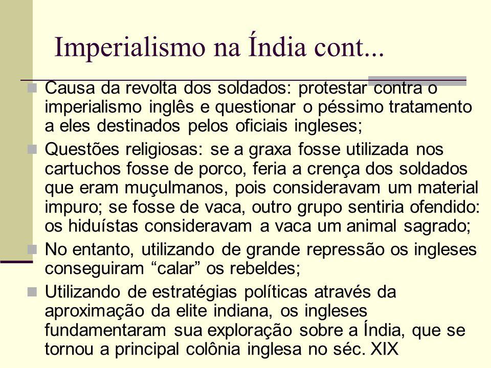 Imperialismo na Índia cont... Causa da revolta dos soldados: protestar contra o imperialismo inglês e questionar o péssimo tratamento a eles destinado