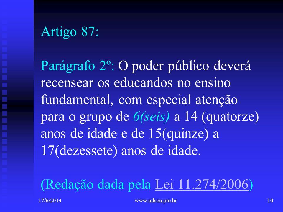 Artigo 87: Parágrafo 2º: O poder público deverá recensear os educandos no ensino fundamental, com especial atenção para o grupo de 6(seis) a 14 (quato