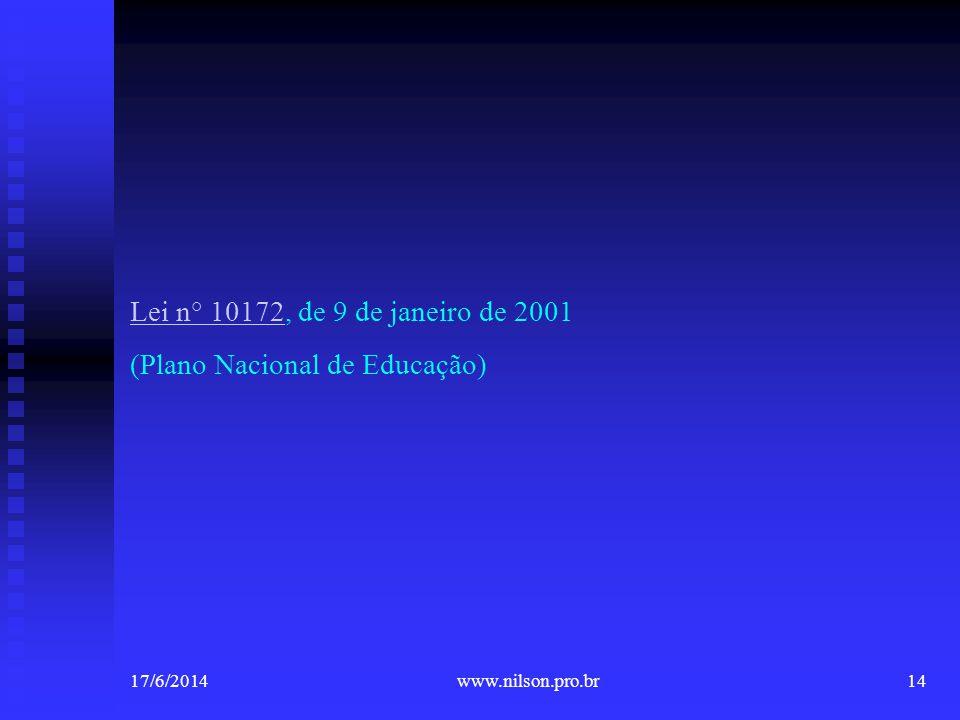 Lei n° 10172Lei n° 10172, de 9 de janeiro de 2001 (Plano Nacional de Educação) 17/6/201414www.nilson.pro.br