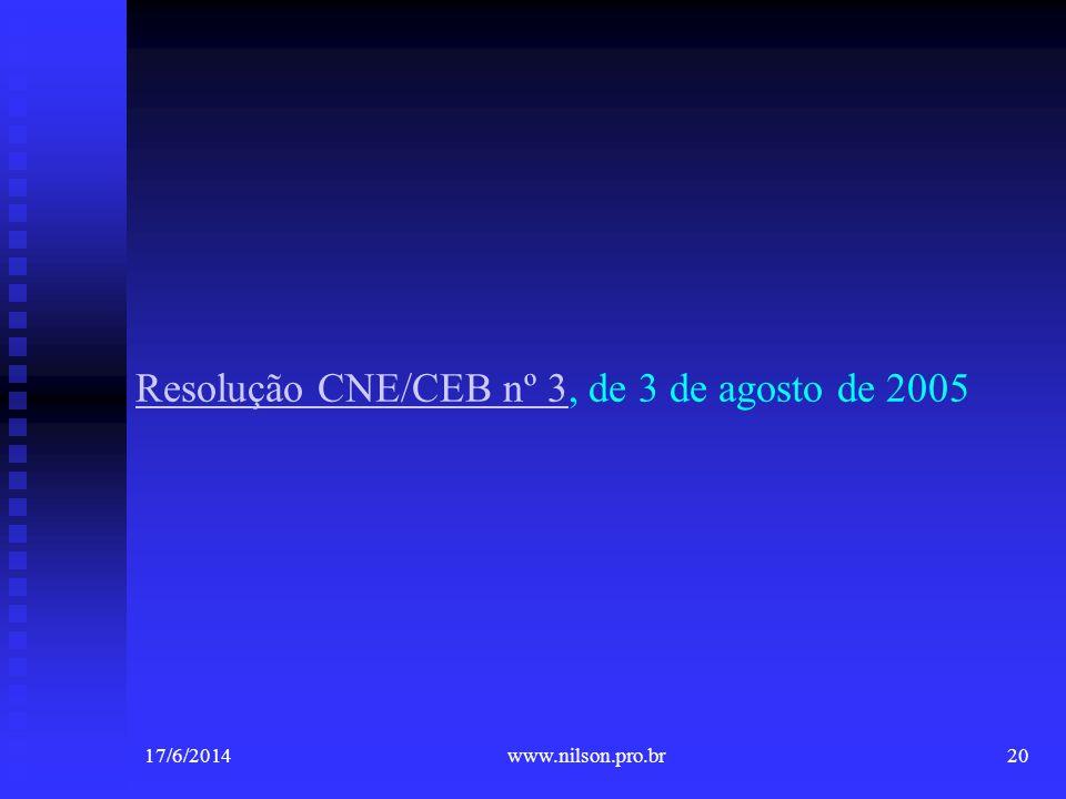 Resolução CNE/CEB nº 3Resolução CNE/CEB nº 3, de 3 de agosto de 2005 17/6/201420www.nilson.pro.br