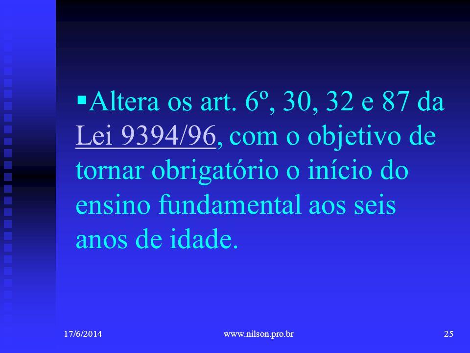 Altera os art. 6º, 30, 32 e 87 da Lei 9394/96, com o objetivo de tornar obrigatório o início do ensino fundamental aos seis anos de idade. Lei 9394/96