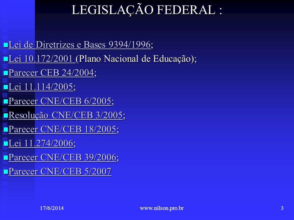 LEGISLAÇÃO FEDERAL : Lei de Diretrizes e Bases 9394/1996; Lei de Diretrizes e Bases 9394/1996; Lei de Diretrizes e Bases 9394/1996 Lei de Diretrizes e